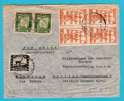 BOLIVIA air censor cover by LAB-LATI 1941 La Paz to Germany