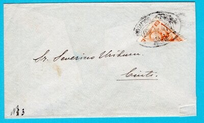 BOLIVIA bisect 10ctv Sucre on cover