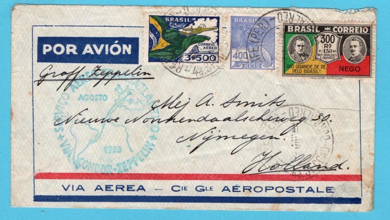 BRAZIL zeppelin cover 1933 Pernambuco to Netherlands