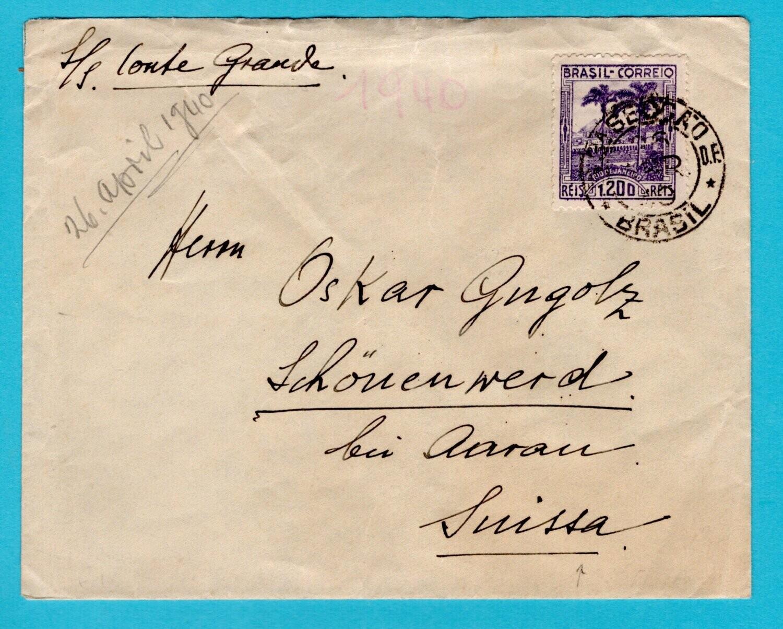 BRAZIL cover 1940 Rio de J to Switzerland