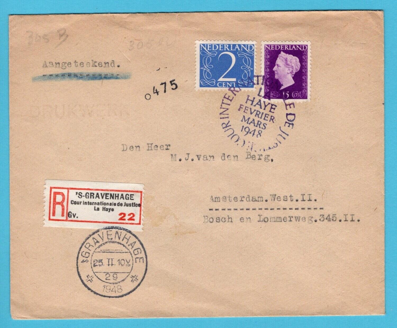 NEDERLAND R drukwerk 1948 Cour de Justice Den Haag R label