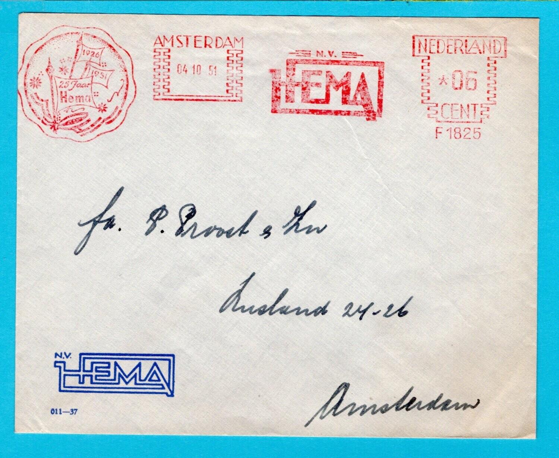 NEDERLAND brief 1951 Amsterdam HEMA roodfrankering