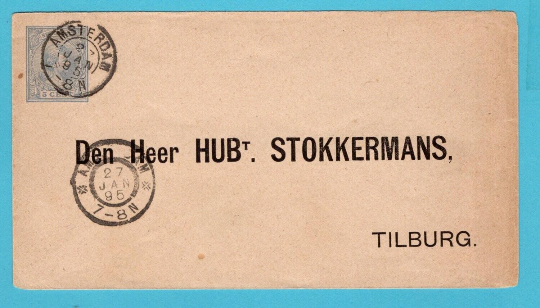 NEDERLAND envelop 1895 gedrukt retour adres Stokkermans Tilburg