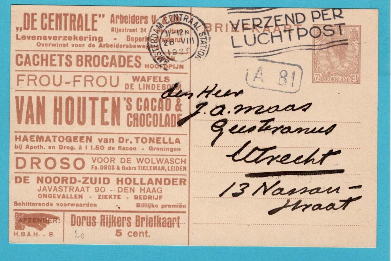 NEDERLAND Doris Rijkers kaart 1926 Amsterdam