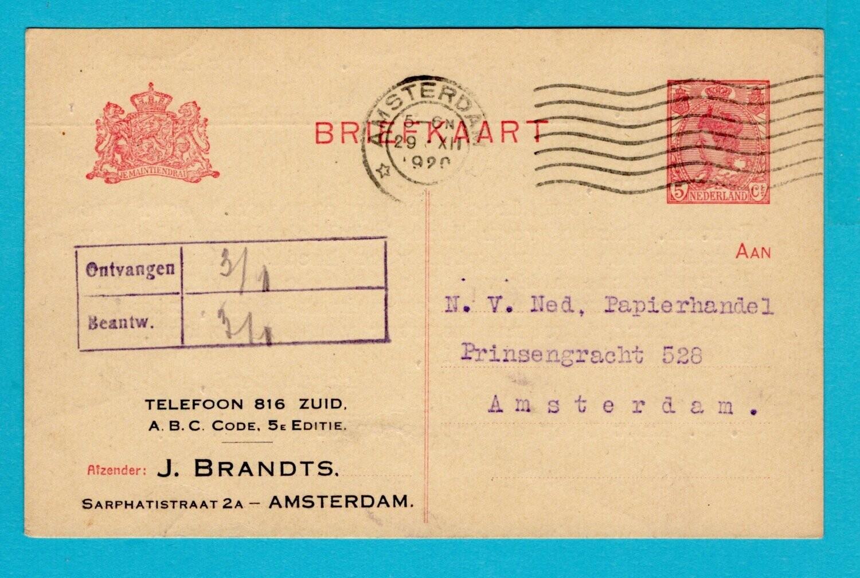 NEDERLAND briefkaart 1920 Amsterdam privé bedrukt
