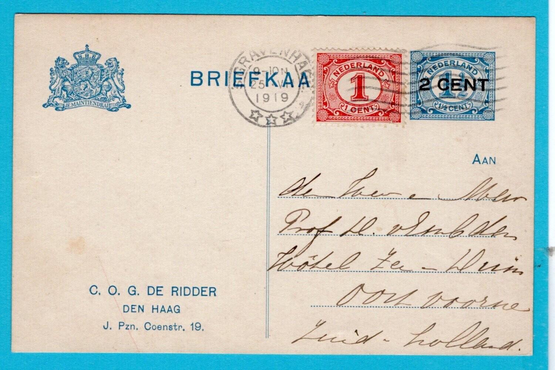 NEDERLAND briefkaart 1919 's Gravenhage particulier de Ridder