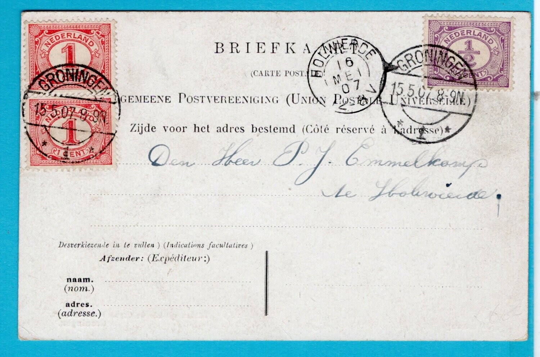 NEDERLAND prentbriefkaart stoomtram 1907 Groningen -Holwierde