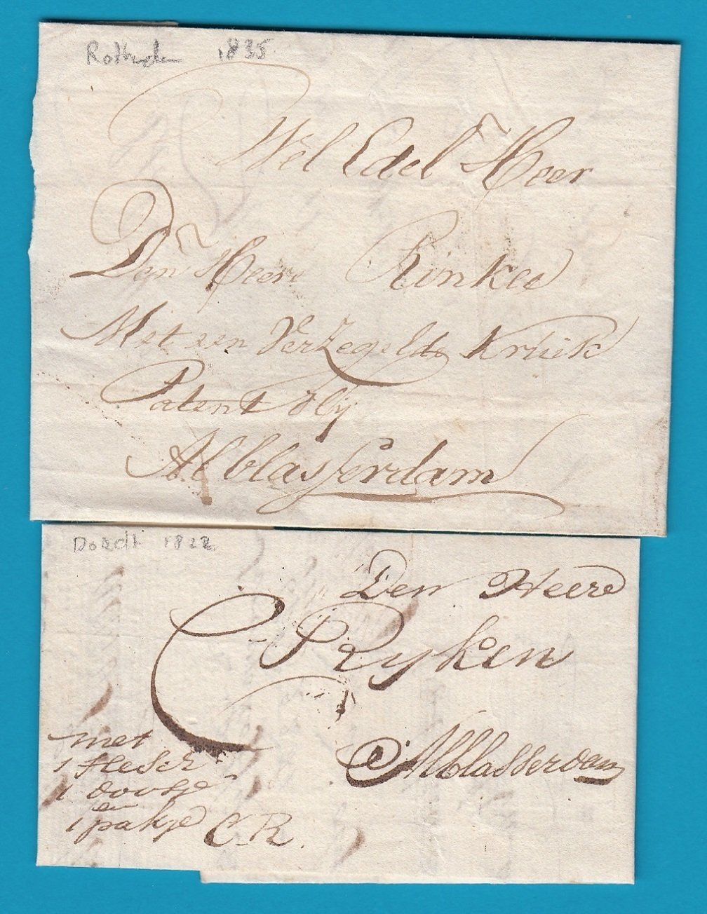 NEDERLAND 2 complete brieven 1822, 1835 naar Alblasserdam