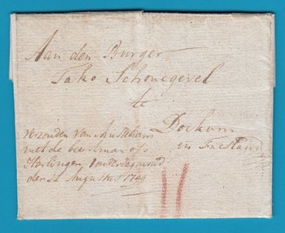 NEDERLAND complete brief 1799 Gouda per beurtschipper naar Dokkum
