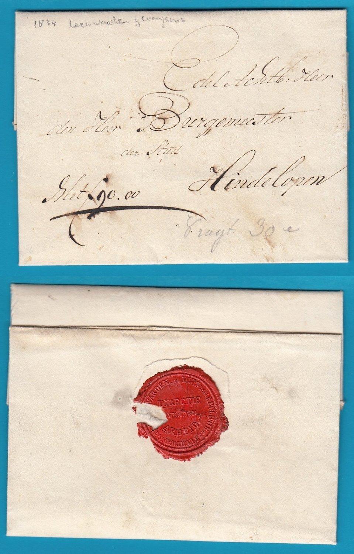 NEDERLAND complete brief 1834 Leeuwarden gevangenis naar Hindelopen