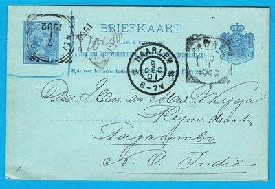 NEDERLAND briefkaart 9 Dec 1901 Haarlem naar Nederlands Indië