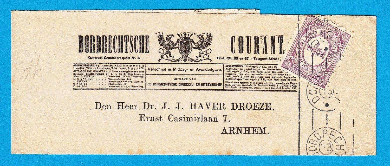 NEDERLAND krantenbandje 1913 Dordrecht naar Arnhem