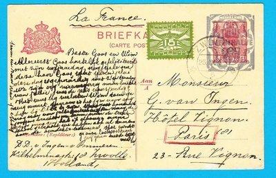 NEDERLAND briefkaart Zwolle 1921 per luchtpost naar Parijs