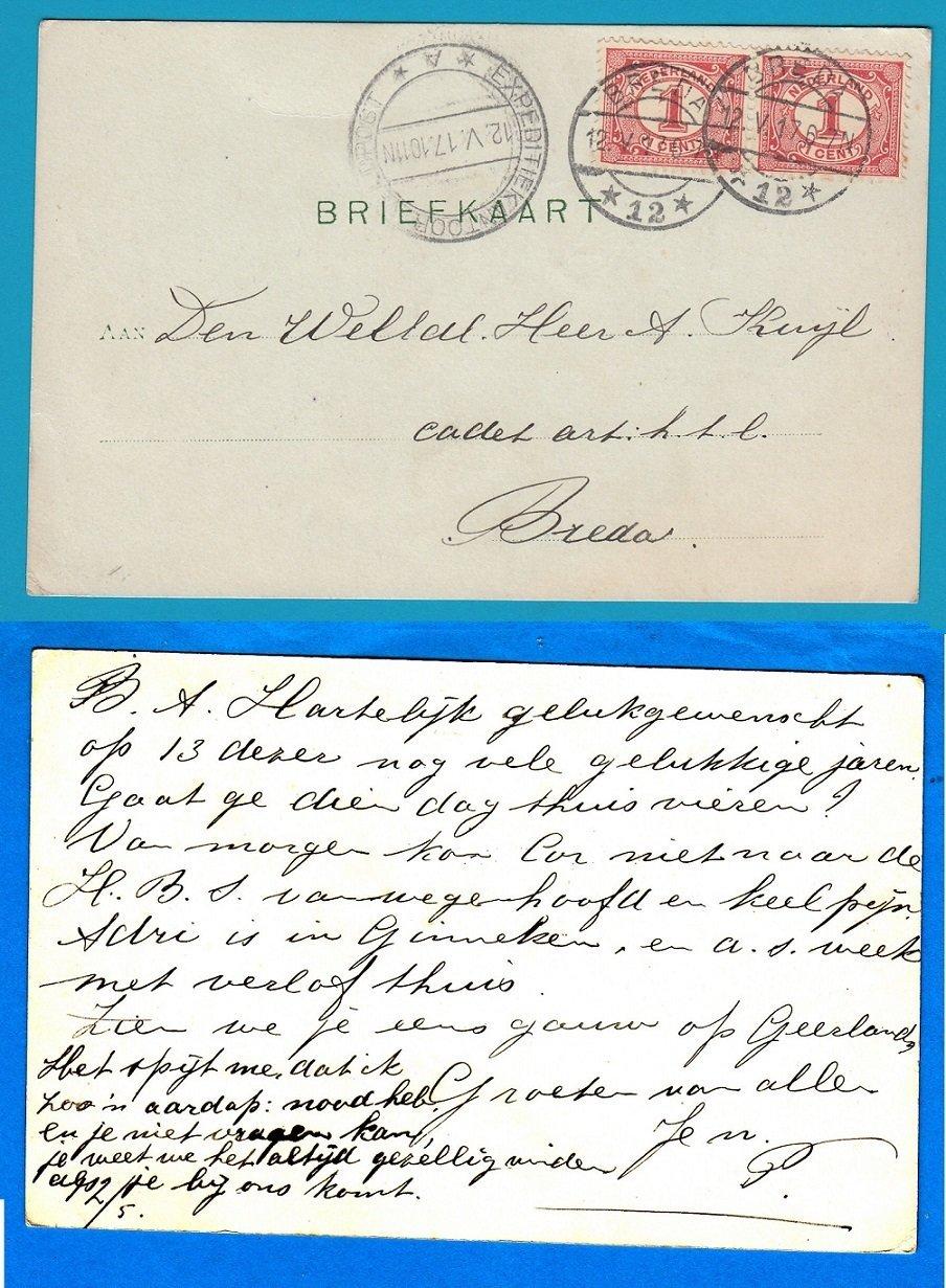 NEDERLAND briefkaart 1917 Breda naar militair met Expeditiekantoor A