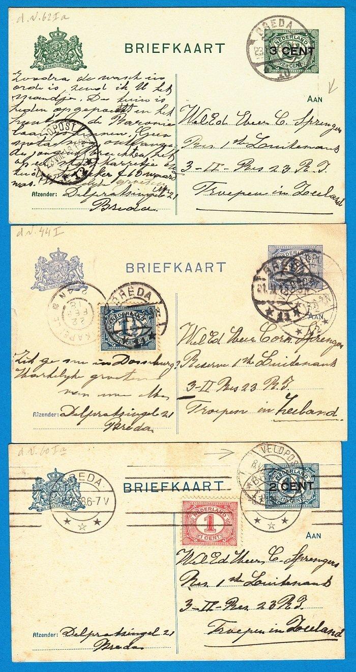 NEDERLAND kleine correspondentie 1918 Breda naar troepen in Zeeland (3 kaarten)