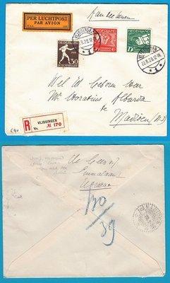NEDERLAND R luchtpost brief 1928 Vlissingen naar Indië met Olympiade zegel
