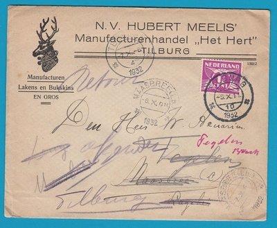 NEDERLAND drukwerk 1932 Tilburg naar Maasbree en retour met HERT illustratie