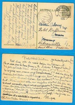NEDERLAND briefkaart 1930 Veere naar padvinder Sterkamp Ommen