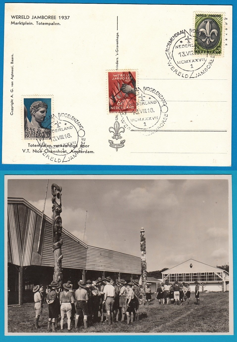 NEDERLAND prentbriefkaart 1937 Wereld Jamboree Vogelenzang Totempalen