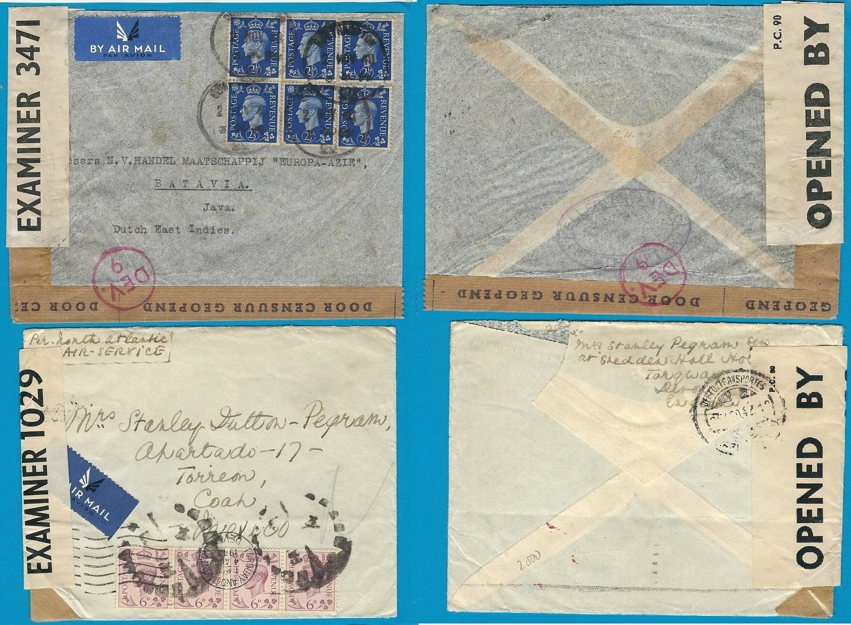 ENGLAND 2 censor airmail covers Nov 1940 to DEI, Au 1942 to Mexico