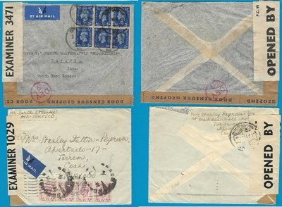 ENGLAND 2 censor airmail covers Nov 1940 to DEI, Au 1942 to Mexico
