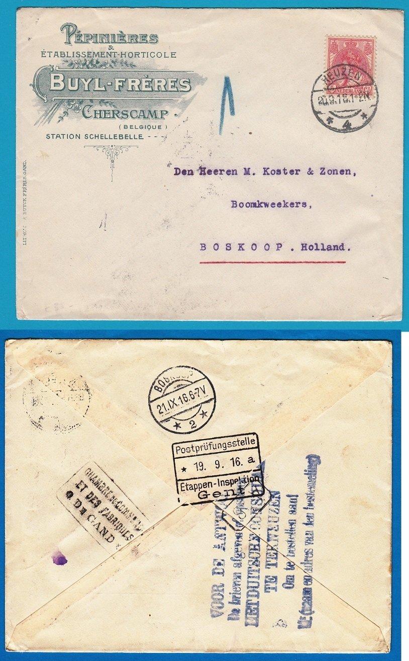 BELGIË brief 1916 van Scherscamp naar Boskoop via Duitse consulaat