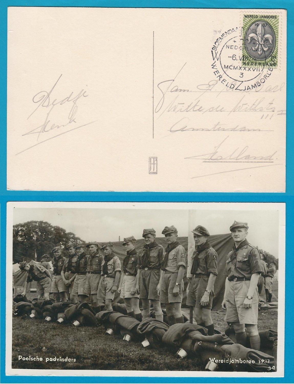 NEDERLAND Jamboree 1937 prentbriefkaart Poolse padvinders