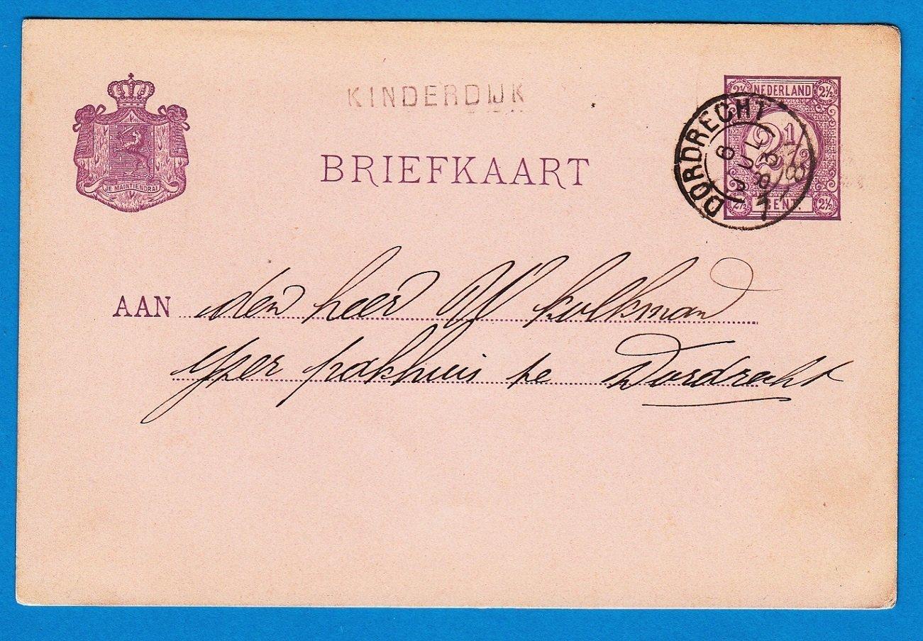 NEDERLAND briefkaart 1883 KINDERDIJK (langstempel) naar Dordrecht