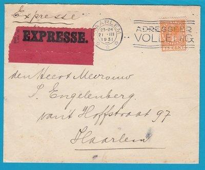 NEDERLAND expresse brief 1931 lokaal Haarlem