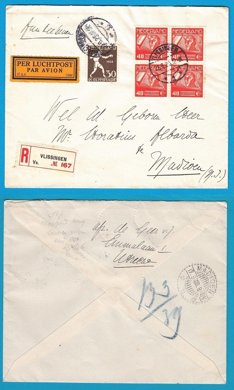 NEDERLAND R luchtpost brief 1928 Vlissingen naar Madioen