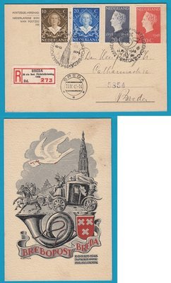 NEDERLAND R kaart 1948 Breda speciaal strookje 36e Philatelisten dag