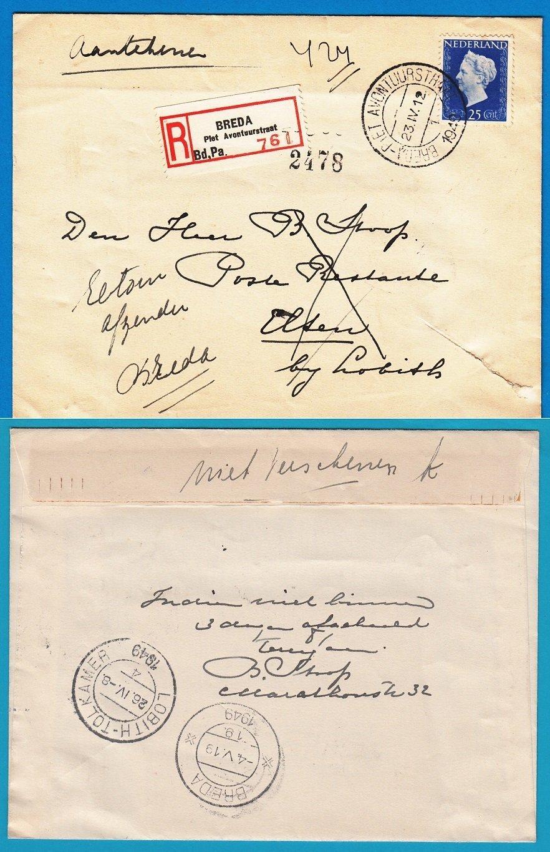 NEDERLAND R brief 1949 Breda naar selfkant Elten en retour