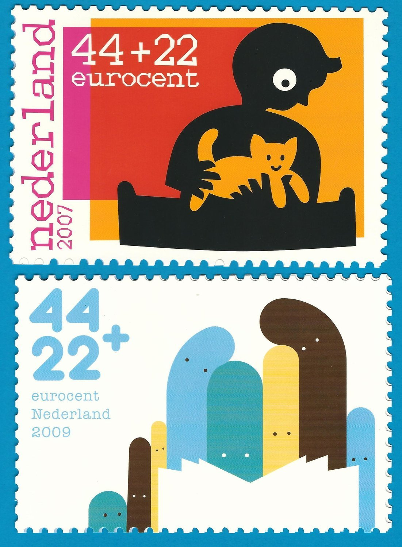 NEDERLAND 2 kinder bedankkaarten 2007-2009
