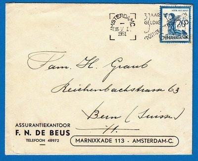 NEDERLAND brief 1951 Amsterdam naar Zwitserland met 20ct Kind