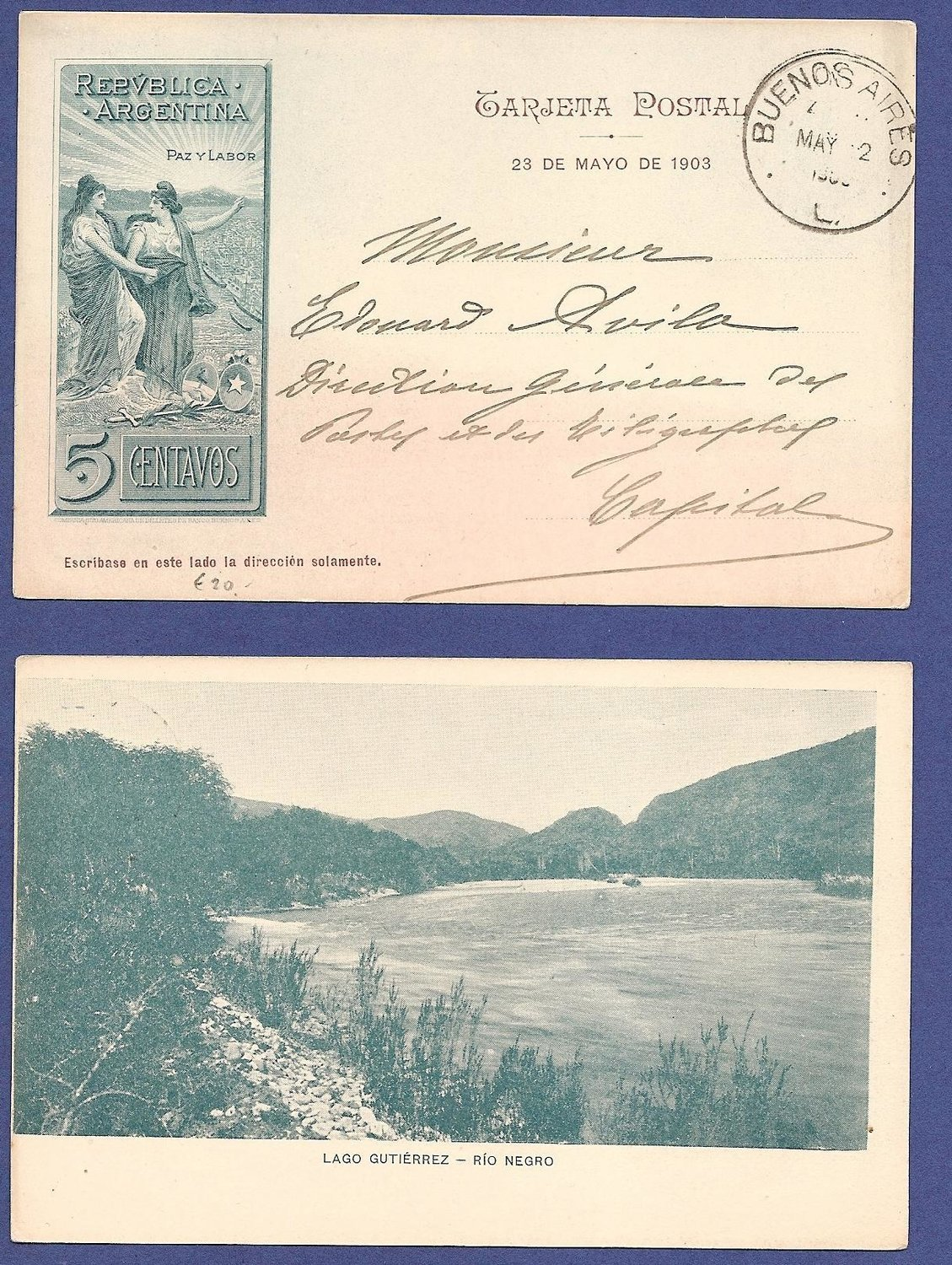 ARGENTINA illustrated postal card 1903 Lago Gutiérrez