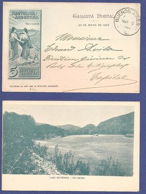 ARGENTINA illustrated postal card 1903 Lago Gutiérrez