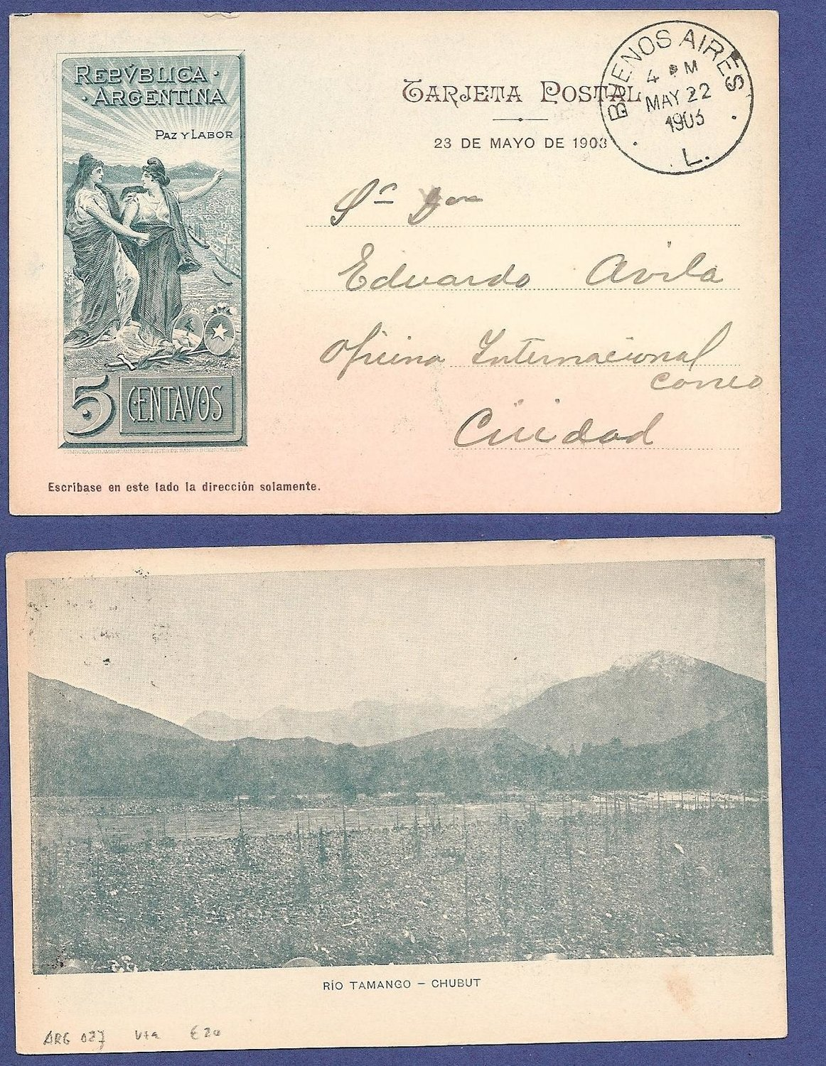 ARGENTINA illustrated postal card 1903 Rio Tamango - Chubut