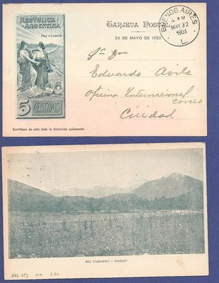 ARGENTINA illustrated postal card 1903 Rio Tamango - Chubut