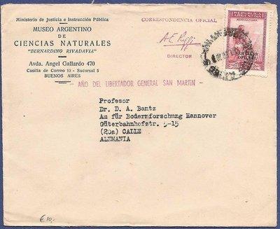 ARGENTINA official cover 1928 BA museo Rivadavia