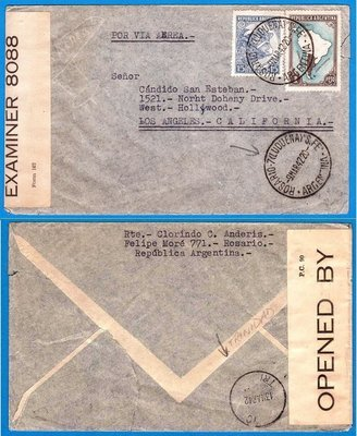 ARGENTINA censored airmail letter Rosario1942 over Trinidad to USA