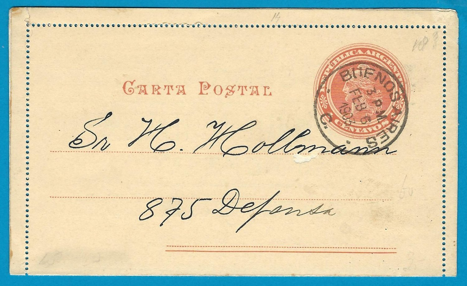 ARGENTINA postal card 1903 BA  with advertisement
