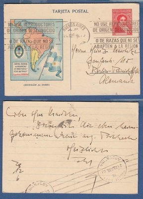 ARGENTINA postal card 1936 BA to Germany with map -demographic details inside