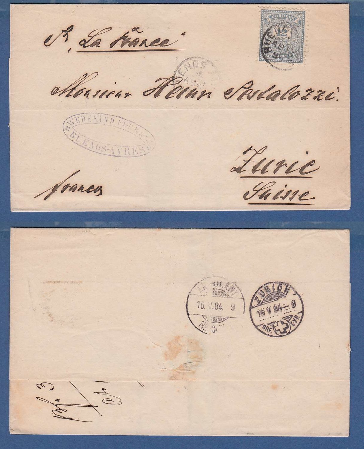 ARGENTINA cover 1884 BA to Switzerland