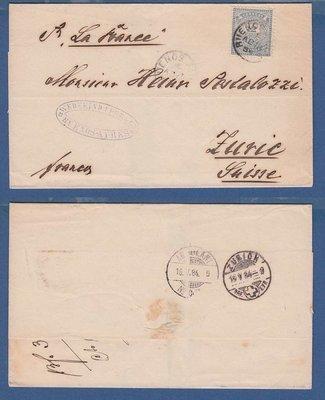 ARGENTINA cover 1884 BA to Switzerland