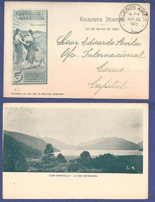 ARGENTINA illustrated postal card 1903 Lago Maravilla