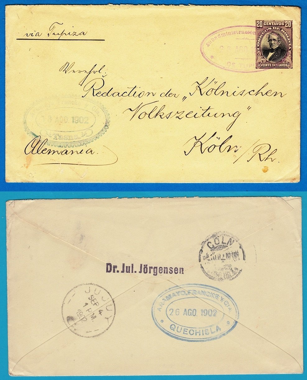 BOLIVIA postal envelope 1902 Tupiza to Germany