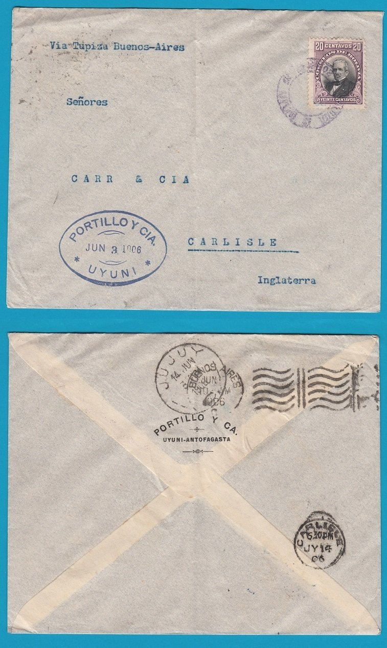 BOLIVIA cover 1906 Uyuni to England
