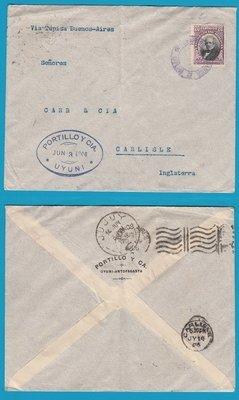 BOLIVIA cover 1906 Uyuni to England