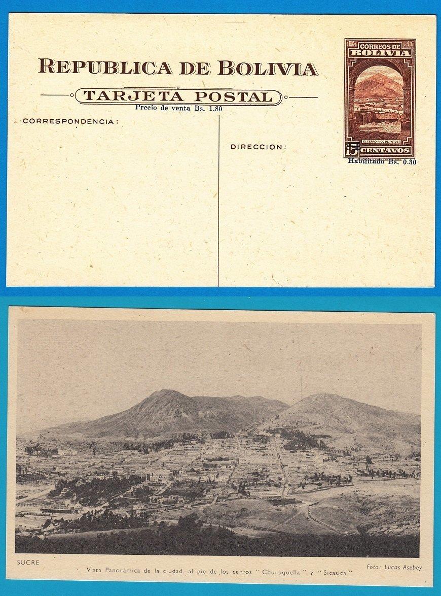 """BOLIVIA illustrated postal card """"habilitado"""" vieuw Sucre"""