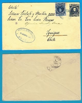 BOLIVIA uprated postal envelope 1904 Oruro to Iquique Chile